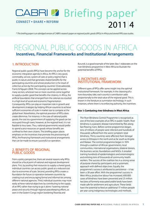 Policy Brief 2011 Cabri Fiscal Policy Regional Public Goods Regional Public Goods In Africa English Brief 4 Rpg English