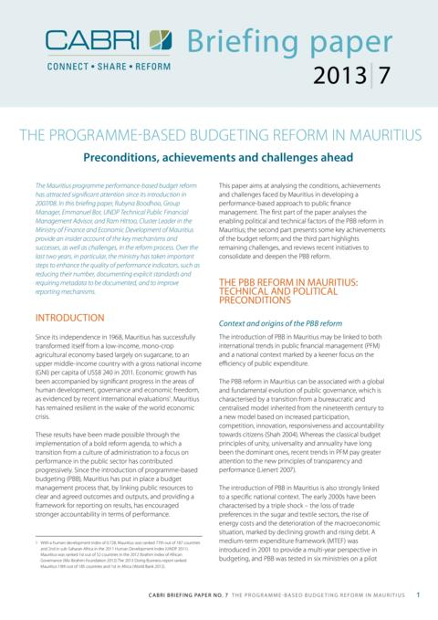 Policy Brief 2013 Cabri Capable Finance Ministries Budget Practices And Reforms English Brief 7 Cabri Briefing Papers Pbb In Mauritius 2013 English
