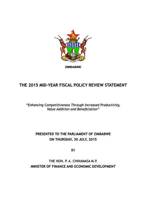 The 2015 Mid Year Fiscal Policy Review Statement