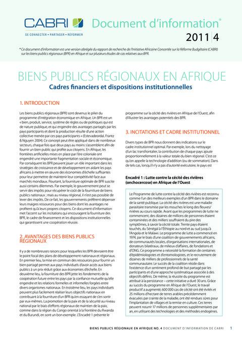 Policy Brief 2011 Cabri Fiscal Policy Regional Public Goods Regional Public Goods In Africa French Brief 4 Rpg French