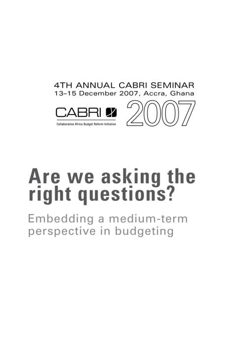 Report 2007 Cabri Cabri Seminar Cabri 4Th Annual Seminar English Are We Asking The Right Questions