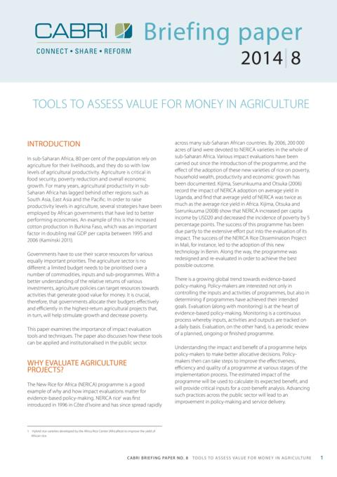 Policy Brief 2014 Cabri Value For Money Agriculture Tools To Assess Vfm In Agriculture English Cabri Agri Briefing Paper 8 English