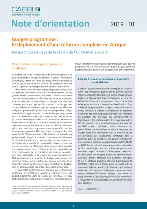 Cabri Policy Brief Programme Based Budgeting Fre Final